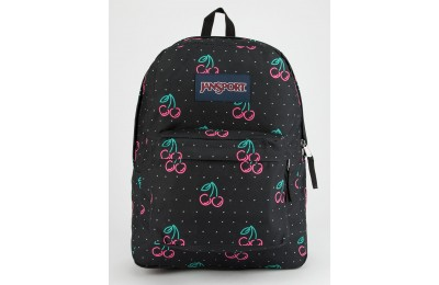 last chance jansport superbreak neon cherries backpack black limited sale best price