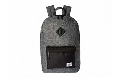 best price herschel supply co. heritage raven crosshatch/black/black pebbled leather limited sale last chance