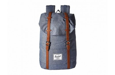 last chance herschel supply co. retreat dark chambray crosshatch/tan synthetic leather limited sale best price