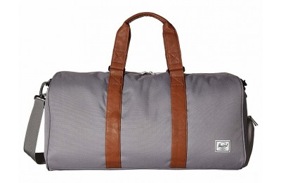 best price herschel supply co. novel mid-volume grey/tan synthetic leather last chance limited sale