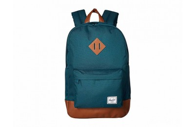 limited sale herschel supply co. heritage mid-volume deep teal/tan synthetic leather last chance best price