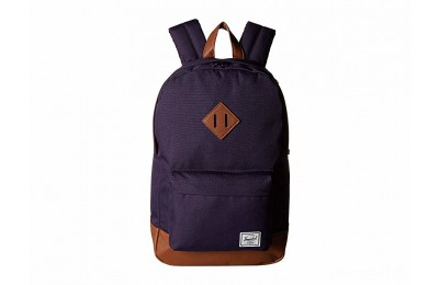 last chance herschel supply co. heritage mid-volume purple velvet/tan synthetic leather limited sale best price