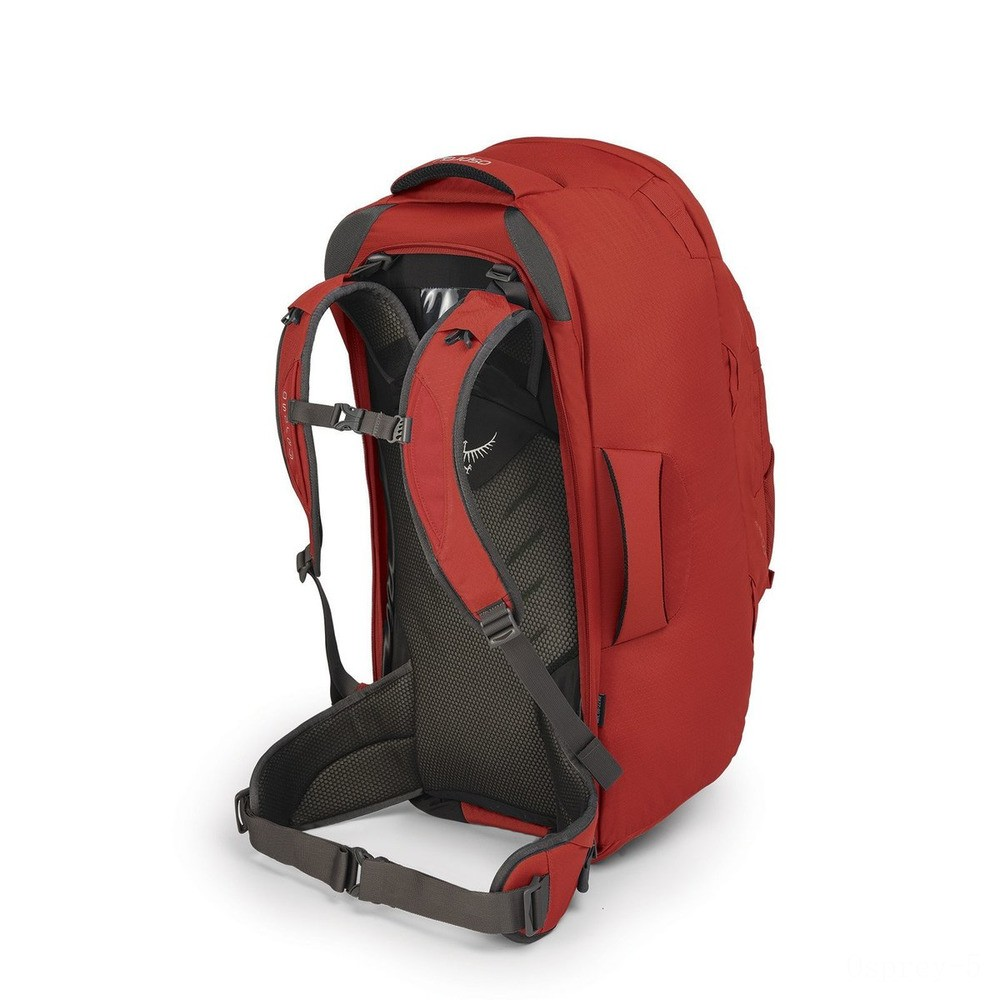 best price osprey farpoint travel pack - 70 iitres  jasper red limited sale last chance