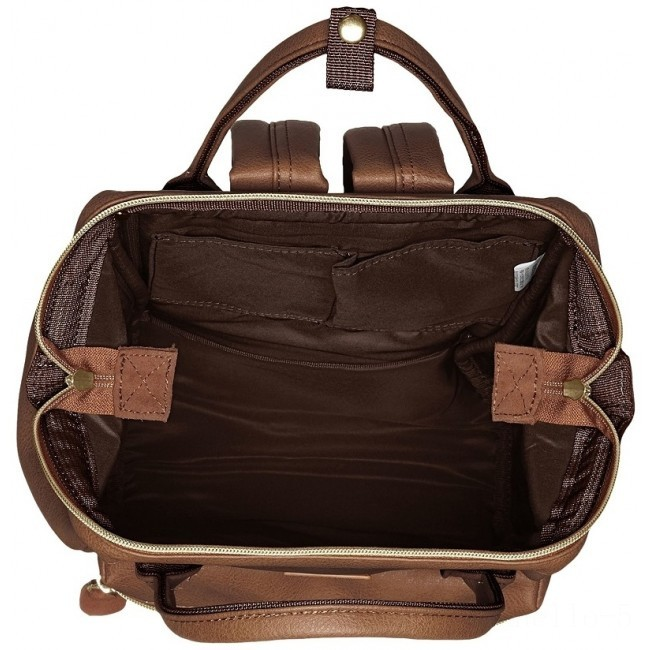 best price anello faux leather rucksack small in brown last chance limited sale